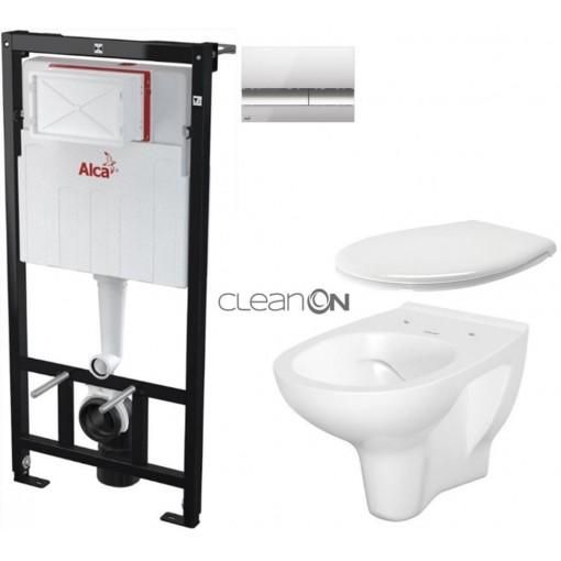 ALCAPLAST Sádromodul - předstěnový instalační systém s chromovým tlačítkem M1721 + WC CERSANIT ARTECO CLEANON + SEDÁTKO (AM101/1120 M1721 AT2)