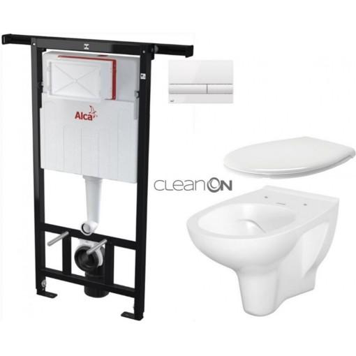 ALCAPLAST - SET Jádromodul - předstěnový instalační systém + tlačítko M1710 + WC CERSANIT ARTECO CLEANON + SEDÁTKO (AM102/1120 M1710 AT2)