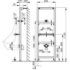 ALCAPLAST Modul pro pisoár 1200 mm (montážní rám) (A107/1200)