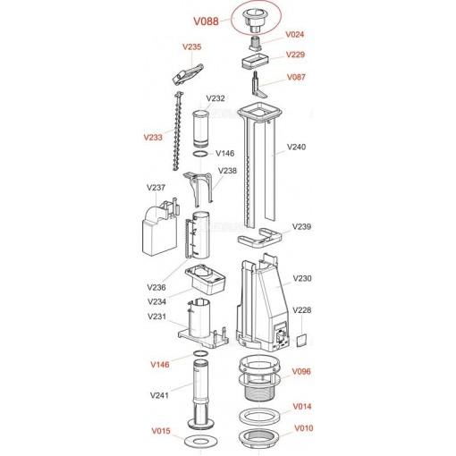 ALCAPLAST V087 -čep tlačítka A04 , A08 V0087-ND (V0087-ND)