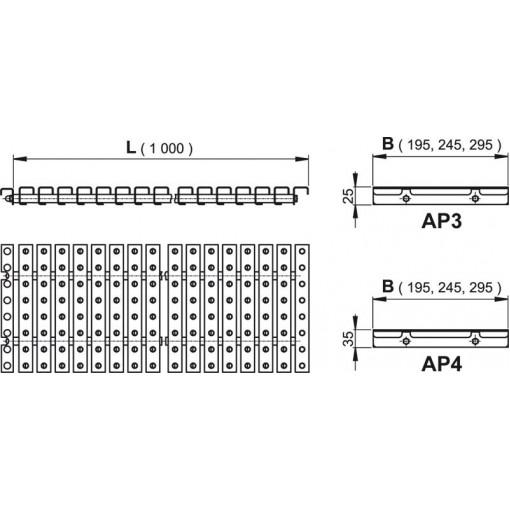 Alcaplast AP3- Přelivový rošt s protiskluzem, výška 25mm, šířka, 295mm, délka 1000mm (AP3-295)