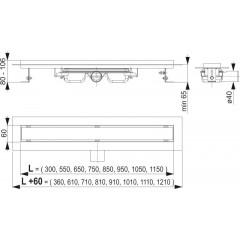 Alcaplast APZ106 Professional- liniový podlahový žlab snížený pro plný rošt 1050 (APZ106-1050)