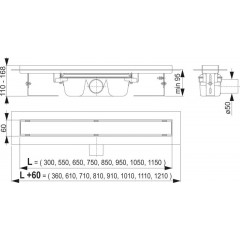 Alcaplast APZ6 Professional- liniový podlahový žlab pro plný rošt 300 (APZ6-300)
