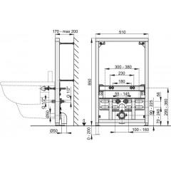 Montážní rám pro bidet - stavební výška 0,85 m ALCAPLAST A105/850 (A105/850)