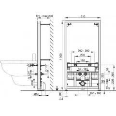 Montážní rám pro bidet - stavební výška 1 m ALCAPLAST A105/1000 (A105/1000)