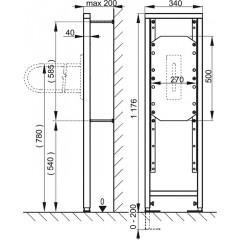 Alcaplast Montážní rám pro madlo stavební výška 1,2 m (A106/1200)