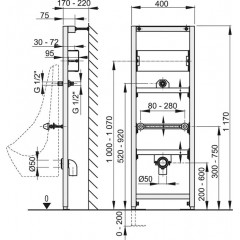 Alcaplast Montážní rám pro pisoár s možností rozšíření o senzorový splachovač A107S/1200