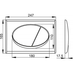 Alcaplast ovládací deska M73 chrom kombinace: deska lesk, tlačítko mat (M73)
