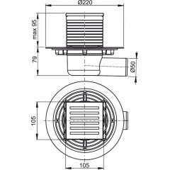 ALCAPLAST Podlahová vpusť 105x105/50 boční mosaz-chrom APV103 (APV103)