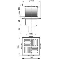 Alcaplast Podlahová vpust 150 × 150/50 přímá, mřížka šedá, vodní zápachová uzávěra (APV6211)