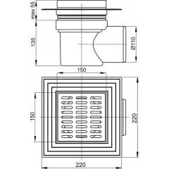 Alcaplast Podlahová vpusť 150x150/110 boční nerez APV12