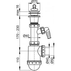 ALCAPLAST Sifon dřezový s plastovou mřížkou pr.70 a přípojkou A442P-DN50/40 (A442P-DN50/40)