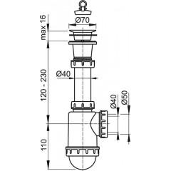 Alcaplast Sifon dřezový s plastovou mřížkou pr.70 (A442-DN50/40)
