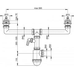 Alcaplast Sifon pro dvoudřez s nerezovými mřížkami pr.70 a přípojkou (A449P-DN50/40)