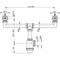 Alcaplast Sifon pro dvoudřez s nerezovými mřížkami pr.70 (A449-DN50/40)