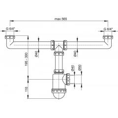 Alcaplast Sifon pro dvoudřez s převlečnými maticemi 6/4 (A448-DN50/40)