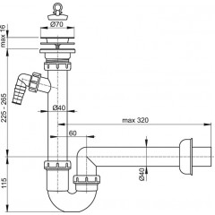 Alcaplast Sifon trubkový s nerezovou mřížkou pr.70 a přípojkou (A810-DN40)