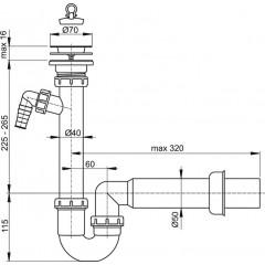 Alcaplast Sifon trubkový s nerezovou mřížkou pr.70 a přípojkou (A810-DN50)