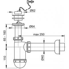 Alcaplast Sifon umyvadlový DN40 s plastovou mřížkou pr.63, řetízek (A42R)