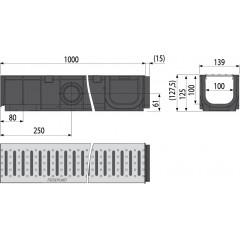 ALCAPLAST Venkovní žlab 1m 100 mm bez rámu s roštem pozink T profilu AVZ101-R101 (AVZ101-R101)