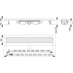 ALCAPLAST-APZ101-650-LOW podlahový žlabvýška 55mm SNÍŽENÝ (kout min.700mm) (APZ101-650)