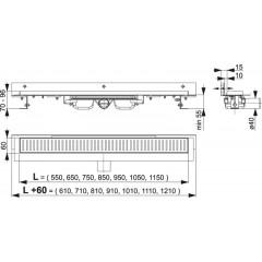 Alcaplast APZ104-850-LOW podlahový žlab ke zdi v.55mm SNÍŽENÝ min. 900mm kout APZ104-850