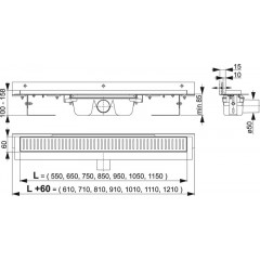 Alcaplast APZ4-950 podlahový žlab ke zdikout min. 1000mm APZ4-950