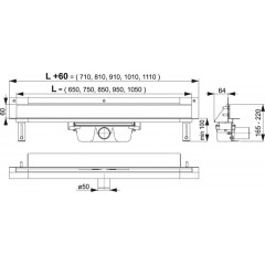 Alcaplast APZ5-EDEN-750 podlahový žlab do zdi-nerez leskkout min. 800mm SPA (APZ5-EDEN-750)