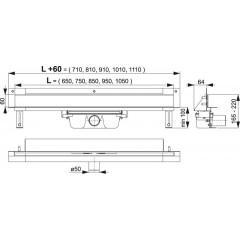 ALCAPLAST-APZ5-TWIN-650 podlahový žlab do zdi-pro obklad(kout min.700mm) SPA (APZ5-TWIN-650)