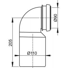 Koleno odpadu komplet 90/110/90st. k A100 modul ALCAPLAST M906 M906