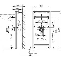 Montážní rám pro umyvadlo - stavební výška 0,85 m ALCAPLAST A104/850 (A104/850)