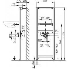 Montážní rám pro umyvadlo - stavební výška 1,2 m ALCAPLAST A104/1200 A104/1200