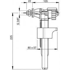 Nap.ventil.A-16M 3/8boční mosaz(do modulů ALCAPLAST),a plastové nádržky (dříve A16P-3/8) A16M-3/8 (A16M-3/8)