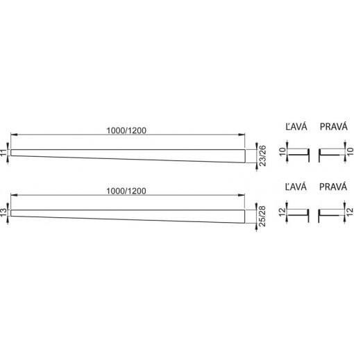 Nerezová lišta pro spádovanou podlahu PRAVÁ 1 m dlažba 10mm, výška lemu 12mm mat ALCAPLAST APZ902M/1000 (APZ902M/1000)