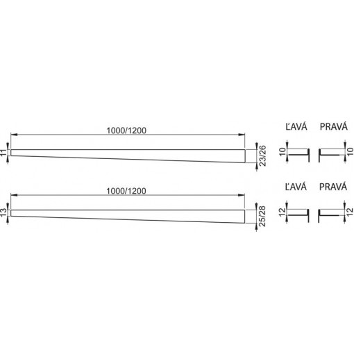 Nerezová lišta pro spádovanou podlahu PRAVÁ 1 m dlažba 12mm, výška lemu 14mm mat ALCAPLAST APZ904M/1000 (APZ904M/1000)