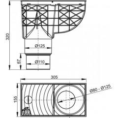 Okapová vpusť 80-125 DN125/110 spodní šedá ALCAPLAST AGV4S (AGV4S)