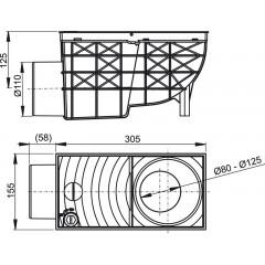 Okapová vpusť 80-125,110 šedá boční ALCAPLAST AGV3S (AGV3S)