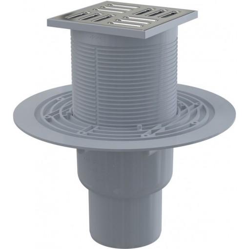 ALCAPLAST Podlahová vpust 105 × 105/50/75 přímá, mřížka nerez, vodní zápachová uzávěra APV2311 (APV2311)