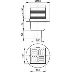 Podl.vpusť 105x105/50 přímá nerez vodní zápach.uzávěra ALCAPLAST APV2 (APV2)