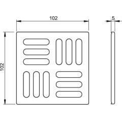Podl.vpusť-ND mřížka 102x102x5 nerez ALCAPLAST MPV004 (MPV004)