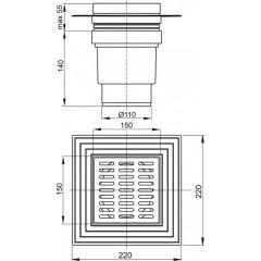 Podlahová vpusť 150x150/110 přímá nerez ALCAPLAST APV13 APV13