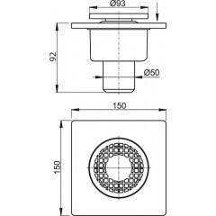 Podlahová vpusť šedá DN50 150x150, plastová mřížka ALCAPLAST plast APV4 (APV4)
