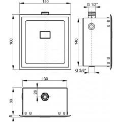 ALCA Automatický splachovač pisoárů, 12 V (napájení ze sítě) ALCAPLAST ASP4 (ASP4)