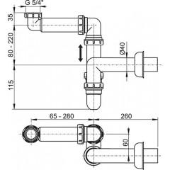 """Sifon 5/4""""-40 spodek nábytkový prostorově úsporný ALCAPLAST plast A434 (A434)"""