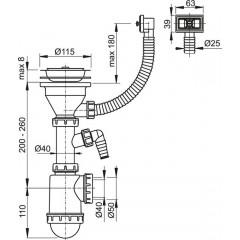 Sifon dřezový s nerezovou mřížkou pr.115, flexi přepadem a přípojkou ALCAPLAST A447P-DN50/40 (A447P-DN50/40)