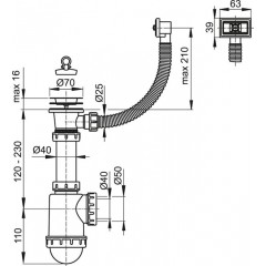 Sifon dřezový s nerezovou mřížkou pr.70 a flexi přepadem ALCAPLAST A444-DN50/40 (A444-DN50/40)