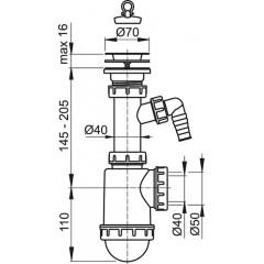 Sifon dřezový s nerezovou mřížkou pr.70 a přípojkou ALCAPLAST A441P-DN50/40 (A441P-DN50/40)