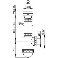 Sifon dřezový s nerezovou mřížkou pr.70 ALCAPLAST A441-DN50/40 (A441-DN50/40)