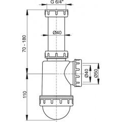 Sifon dřezový spodek s převlečnou maticí 6/4 ALCAPLAST A443-DN50/40 (A443-DN50/40)