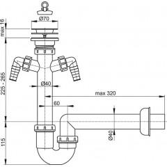 Sifon dřezový trubkový A820-DN40 s nerez mřížkou pr.70 a 2x přípojka ALCAPLAST A820-DN40 A820-DN40